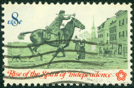 mailmen: UNITED STATES OF AMERICA - CIRCA 1973: A Stamp printed in USA shows the Postrider, from the series Rise of the Spirit of Independence, circa 1973