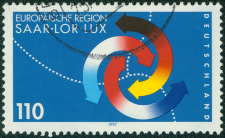 GERMANY - CIRCA 1997: a stamp printed in the Germany shows Third Saar, Lorraine and Luxembourgh Summit, circa 1997