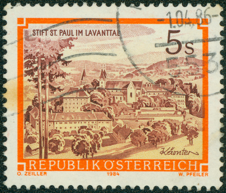 AUSTRIA - CIRCA 1984 A stamp printed in Austria shows St. Paul\'s Abbey in the Lavanttal, Karintien, from the series Monasteries and Abbeys in Austria, circa 1984 Editorial