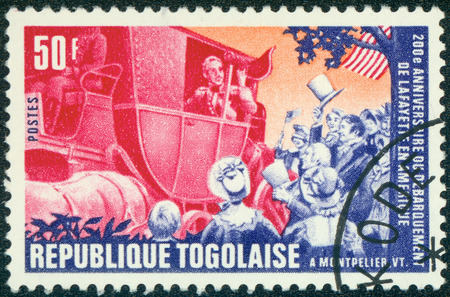 lafayette: TOGO - CIRCA 1977: A stamp printed by Togo, shows Lafayette arriving in Montpelier, circa 1977 Editorial