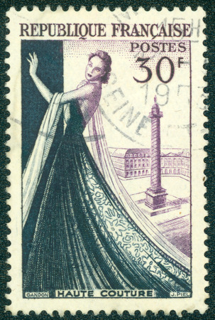 FRANCE - CIRCA 1953: a stamp printed in the France shows Mannequin, Dressmaking industry of France, circa 1953