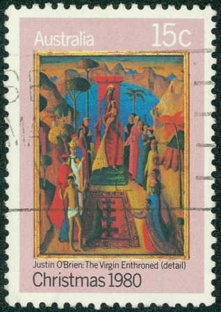 enthroned: AUSTRALIA - CIRCA 1980: A stamp printed in Australia shows detail of draw Virgin Enthroned by Justin O \ Brien, circa 1980