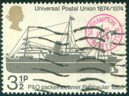 philatelic: UNITED KINGDOM - CIRCA 1974: A stamp printed in United Kingdom shows a P & O Packet steamer Peninsular, 1888, with inscriptions and name of series \ Centenary of Universal Postal Union \, circa 1974