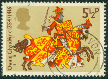robert bruce: UNITED KINGDOM - CIRCA 1974: A used postage stamp printed by UNITED KINGDOM shows Robert the Bruce, the King of the Scots, circa 1974 Stock Photo