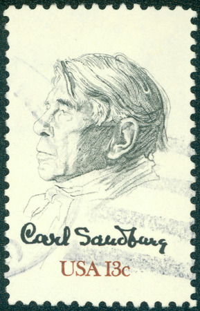biographer: USA - CIRCA 1978: Postage stamp printed in USA, shows the poet, biographer and collector of American folk songs - Carl Sandburg, by William A. Smith, circa 1978