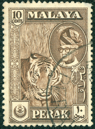 malaya: MALAYA - CIRCA 1946: A stamp printed in Malaya shows image of a tiger, series, circa 1946
