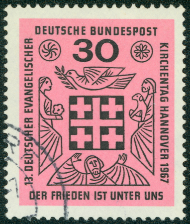 synod: GERMANY - CIRCA 1967: a stamp printed in the Germany shows Peace is Among Us, 13th Meeting of German Protestants, Hanover, circa 1967 Stock Photo