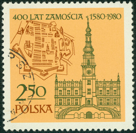 polska: POLAND - CIRCA 1980: A stamp printed in Poland shows Map and Old Town, Hall, 1591 Zamosc, circa 1980