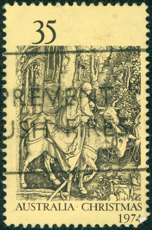 albrecht: AUSTRALIA - CIRCA 1974: a stamp printed in the Australia shows Flight into Egypt, by Albrecht Durer, Christmas, circa 1974 Editorial
