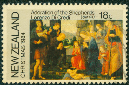 adoration: NEW ZEALAND - CIRCA 1984: a stamp printed in the New Zealand shows Adoration of the Shepherds, Painting by Lorenzo Di Credi, Christmas, circa 1984