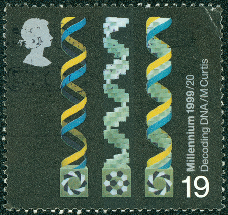 decoding: UNITED KINGDOM - CIRCA 1999: A stamp printed in United Kingdom shows Decoding DNA, series British Achievements During Past 1000 Years, circa 1999