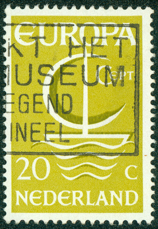 stempeln: NETHERLANDS - CIRCA 1966: A stamp printed in the Netherlands from the \\\Europa\\\ issue shows Europa ship, circa 1966