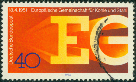eg: GERMANY - CIRCA 1976: a stamp printed in the Germany shows EG, European Coal and Steel Community, 25th Anniversary, circa 1976