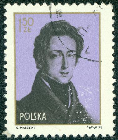 frederic: POLONIA - CIRCA 1975: sello impreso por Polonia muestra Frederic Chopin alrededor de 1975.