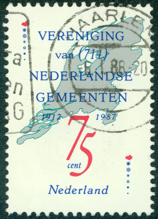 NETHERLANDS - CIRCA 1987: a stamp printed in the Netherlands shows Union of the Netherlands Municipalities, 75th Anniversary, circa 1987