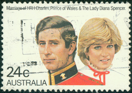 diana: AUSTRALIA - CIRCA 1981:A Cancelled postage stamp from Australia illustrating Marriage of Charles and Diana, issued in 1981.