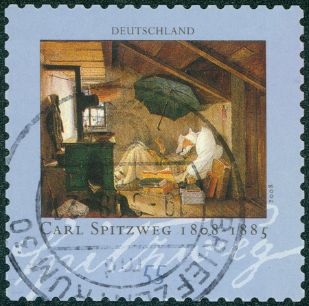 carl: GERMANY - CIRCA 2008: Postage stamp printed in Germany, shows the painting The Poor Poet by Carl Spitzweg, circa 2008 Editorial