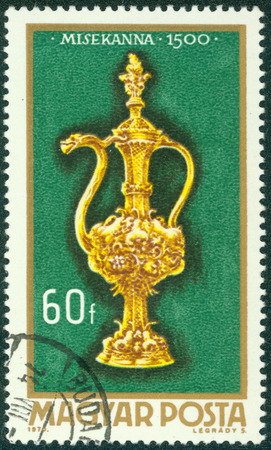 burette: HUNGARY - CIRCA 1970: A stamp printed in Hungary shows Altar burette (1500), with the same inscription, from the series \\\Hungarian Goldsmiths Art\\\, circa 1970 Editorial