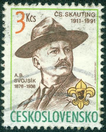 czechoslovak: CZECHOSLOVAKIA - CIRCA 1991: A stamp printed in Czechoslovakia shows Antonin Benjamin Svojsik - founder of the Czechoslovak Scouting organization Junak, circa 1991