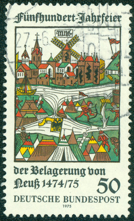 siege: GERMANY - CIRCA 1975: A stamp printed in the Germany shows View of Neuss, Woodcut, 500th Anniversary of Unsuccessful Siege of Neuss by Duke Charles, Bold of Burgundy, circa 1975 Stock Photo