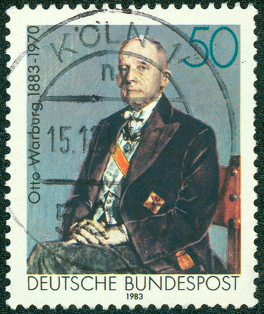 GERMANY - CIRCA 1983: A stamp printed in Germany shows Otto Heinrich Warburg - German physiologist, medical doctor and Nobel laureate, circa 1983