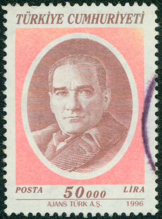 mustafa: TURKEY - CIRCA 1996: a stamp printed in the Turkey shows Mustafa Kemal Ataturk, the First President of Turkey, Father of the Turks, circa 1996
