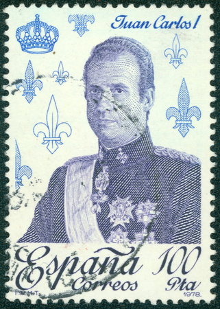 accession: SPAIN - CIRCA 1978: A stamp printed by Spain shows portrait of Juan Carlos I, King of Spain, series royalty and monarchies, circa 1978 Editorial