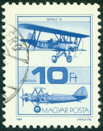 "HUNGARY - CIRCA 1988: A stamp printed in Hungary shows Old Airplane, with the inscription \ ""Gerle 13 \"", from the series Airplanes, circa 1988"