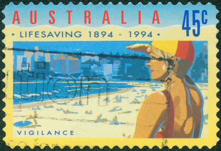 life saving: AUSTRALIA - CIRCA 1994: Postage stamp printed in Australia, dedicated to the 100th anniversary of the Royal Life Saving Society, shows Vigilance, circa 1994