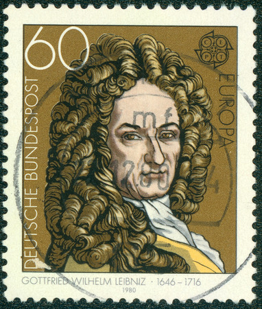 mathematician: GERMANY - CIRCA 1980: A stamp printed in Germany shows Gottfried Wilhelm Leibniz (1646-1716), philosopher and mathematician, circa 1980