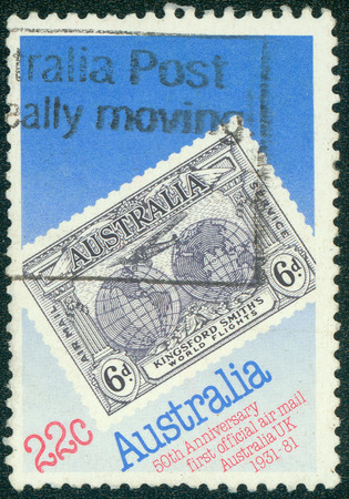 first australians: AUSTRALIA - CIRCA 1981: A stamp printed in Australia issued for the 50th anniversary of Official Australia - UK Airmail Service shows 1931 Kingsford Smith \ s Flights Commemorative stamp, circa 1981.