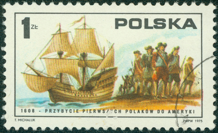 american revolution: POLAND - CIRCA 1975: A post stamp printed in Poland shows First Poles arriving on \ Mary and Margaret \, 1608, series Bicentenary of American Revolution, circa 1975