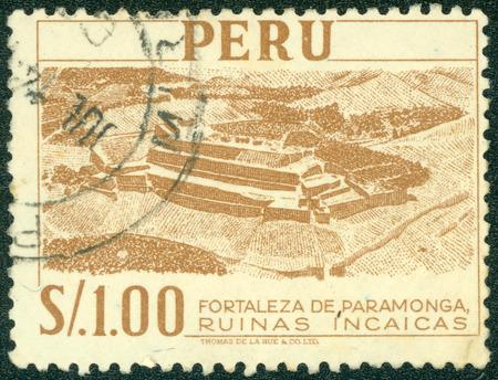 年頃 1966年 - ペルー: ペルーの番組で要塞 Paramonga - インカの遺跡、年頃 1966年印刷サンプ 報道画像