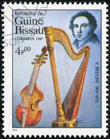 bellini: GUINEA CIRCA 1985: A stamp printed by Guinea, shows musician and composer Giovanni Bellini, circa 1985