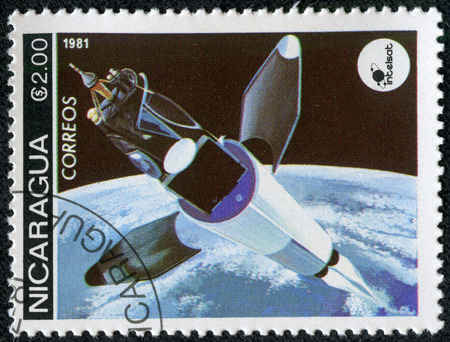 manned: NICARAGUA - CIRCA 1981: a stamp printed in Nicaragua shows Satellite, Space Program, circa 1981 Stock Photo