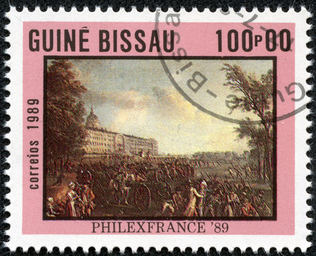 mob: GUINEA-BISSAU - CIRCA 1989: a stamp printed in the Guinea-Bissau shows Armed Mob, Painting, circa 1989
