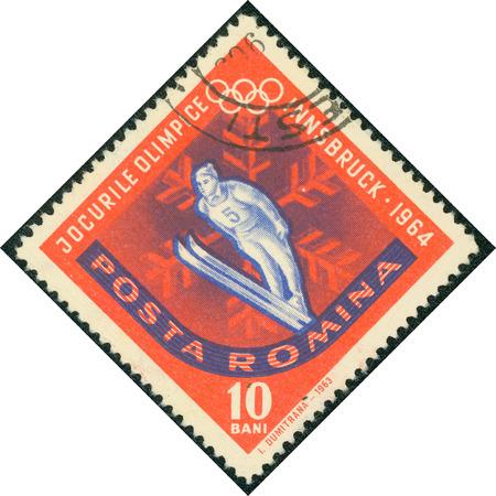 olympiad: ROMANIA - CIRCA 1963: stamp printed by Romania, shows Ski Jump, circa 1963