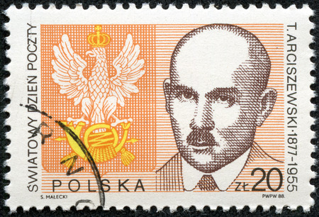 posthorn: POLAND - CIRCA 1988: A stamp printed in Poland from the World Post Day  issue shows Postal Emblem and Tomasz Arciszewski Postal Minister, 1918-19, circa 1988.