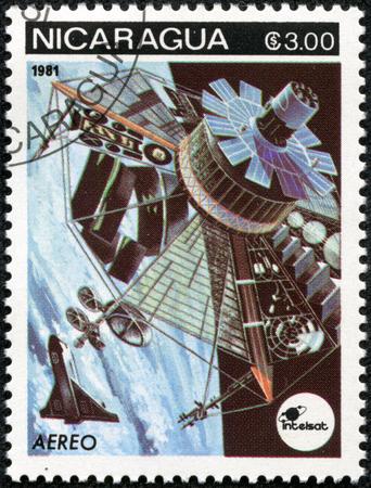 soyuz: NICARAGUA - CIRCA 1981: a stamp printed in Nicaragua shows Satellite, Space Program, circa 1981 Stock Photo