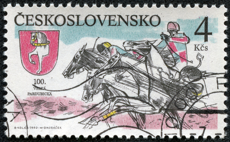 steeplechase: CZECHOSLOVAKIA - CIRCA 1990: A stamp printed by Czechoslovakia shows Sulky Race . Pardubice Steeplechase, circa 1990