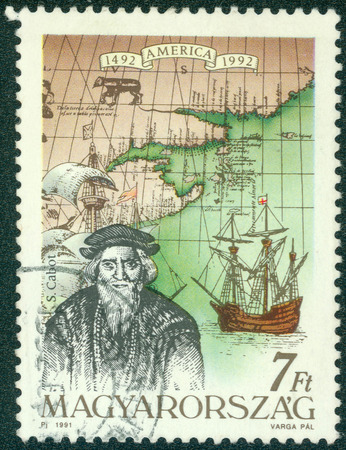 pizarro: HUNGARY - CIRCA 1991: Stamp printed in Hungary from the issue The 500th Anniversary of the Discovery of America showsS. Cabot, circa 1991.