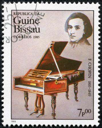 frederic: GUINEA CIRCA 1985: Un sello impreso por Guinea, muestra el m�sico y compositor Frederic Chopin, alrededor de 1985 Editorial