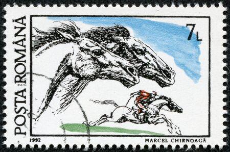 circa: ROMANIA - CIRCA 1992: A stamp printed in Romania, shows horse races, circa 1992.