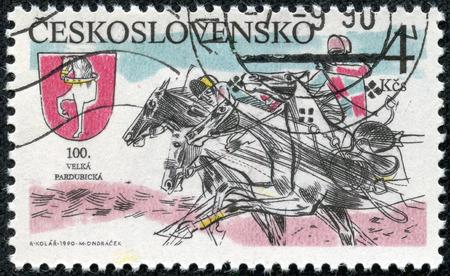 sulky: CZECHOSLOVAKIA - CIRCA 1990: A stamp printed by Czechoslovakia shows Sulky Race . Pardubice Steeplechase, circa 1990