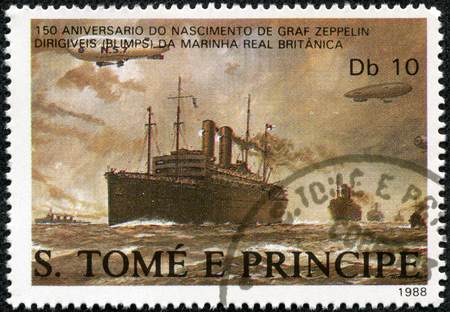 graf: ST. THOMAS AND PRINCE ISLANDS - CIRCA 1988: A stamp printed in St.Thomas shows Dirigibles flying over British merchant ships, series Ferdinand Graf Von Zeppelin 1838-1917, circa 1988