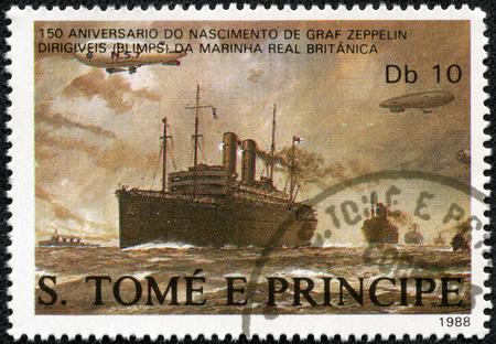 ferdinand: ST. THOMAS AND PRINCE ISLANDS - CIRCA 1988: A stamp printed in St.Thomas shows Dirigibles flying over British merchant ships, series Ferdinand Graf Von Zeppelin 1838-1917, circa 1988