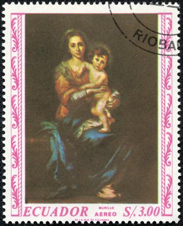 durer: ECUADOR - CIRCA 1967: A stamp printed in the ECUADOR, shows Madonna painted by Albrecht Durer, circa 1967 Editorial