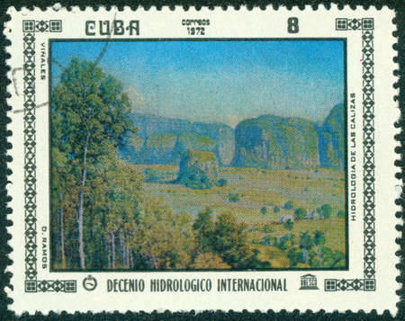 post stamp printed in CUBA shows painting by D. Ramoz, the series International Hydrological Decade, circa 1972