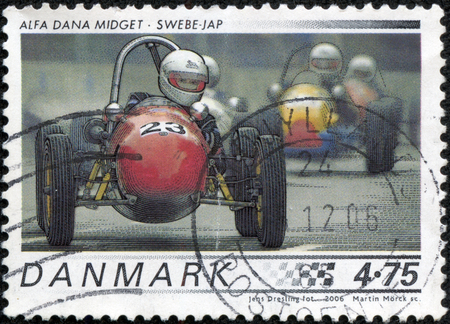 alfa: A stamp printed in Denmark from the Race cars issue shows 1958 Alfa Dana Midget, Swebe - JAP, circa 2006. Stock Photo