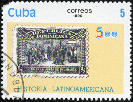 A stamp printed in Cuba from the Latin American History 5th series issue shows Dominican Republic 1900 Columbus stamp, circa 1990.